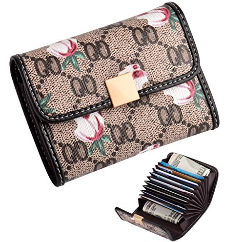 Women's Small Rfid Credit Card Holder Wallet Mini Canvas Leather Coin Purse ()