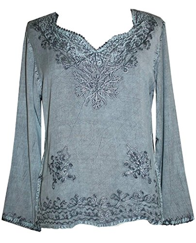 (720 B Medieval Renaissance Embroidered Top Blouse (XL/1X, Turquoise))