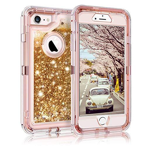 - Glitter Case Floating Bling Sparkle Luxury Pretty Girls for 6S/7/8 Plus (Gold)