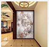 400cmX280cm Home Decoration Dragon & Phoenix Marble 3D Entrance TV Background Wall Painting bathroom 3d wallpaper,F