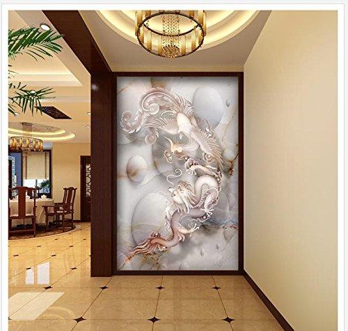 400cmX280cm Home Decoration Dragon & Phoenix Marble 3D Entrance TV Background Wall Painting bathroom 3d wallpaper,F