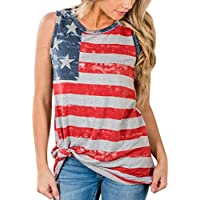 Hot ! New Fashion Women Print American Flag Blouse, Ninasill Beautiful Sleeveless Tank Crop Tops Vest Blouse T-Shirt (L, Multicolor)