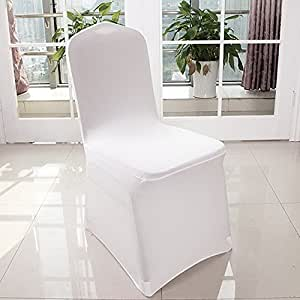 Anfan Universal 100pcs White Chair Covers Spandex/Slipcovers For Wedding, Party, Banquet(Set Of 100) (White-1)