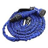 25ft Garden Flexible Hose Lightweight Retractable Expandable 3 Times 7-way Function Multi-pattern Spray Nozzle Gun Ultralight Blue