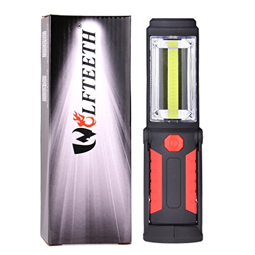 Wolfteeth 7283 Led Worklight Flashlight Red Portable-Work-Lights Hands-Free with Hanging Hook and Magnet Base