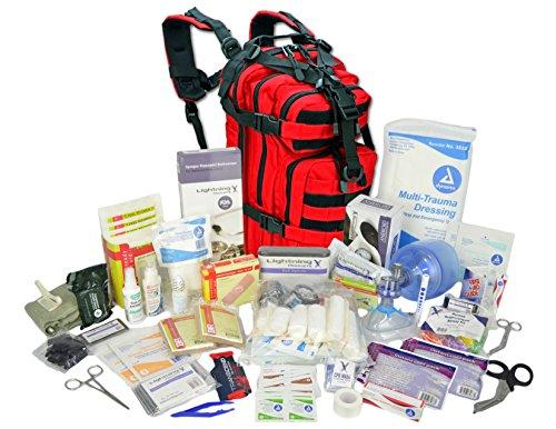 Lightning X Stocked EMS/EMT Trauma & Bleeding First Aid Responder Medical Backpack + Kit (Red) ()