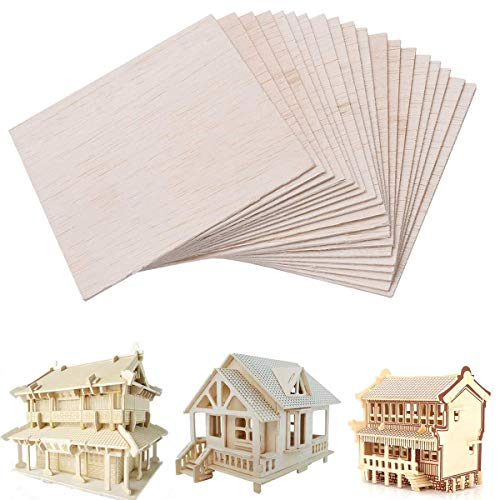 Unfinished Wood Sheet DIY Supplies Blank Wooden Plate Model Slices Wooden Squares Cutouts Home Decoration 4 x 4 inches 1mm 20 Pieces]()