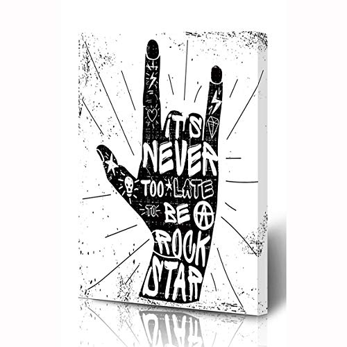 (Ahawoso Canvas Prints Wall Art 8x10 Inches Insignia Tattoo Hard Rock Quotes Never Retro Late Star Music Hand Roll Hipster Old Wooden Frame Printing Home Living Room Office Bedroom)
