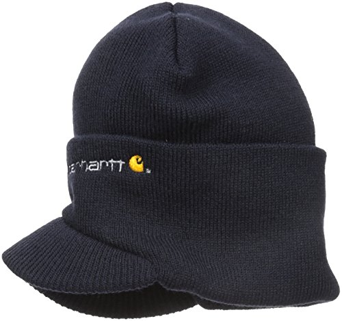 Carhartt Men's Knit Hat With Visor,Navy,One Size (Knit Logo Beanie)