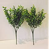 Set of 2 Artificial Tea Leaf Bushes - 35 cm by Floristry Supplies