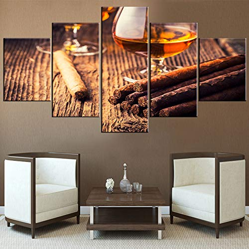 TUMOVO 5 Piece Canvas Wall Art Cigar and Whiskey Pictures Contemporary Paintings for Living Room Brown Artwork Modern Home Decor Wooden Framed Stretche Ready to Hang Posters and Prints(60''Wx32''H)
