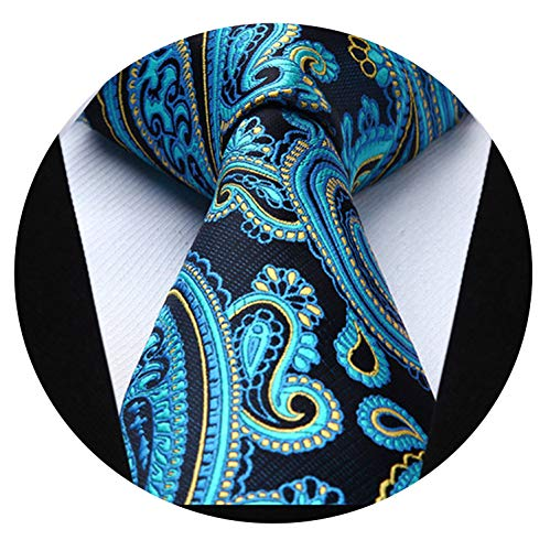 "Men 3.4"" Silk Tie Classic Pocket Square Business Tie Woven Men Necktie Handkerchief Set,P020 from Small Radish Head-accessory"