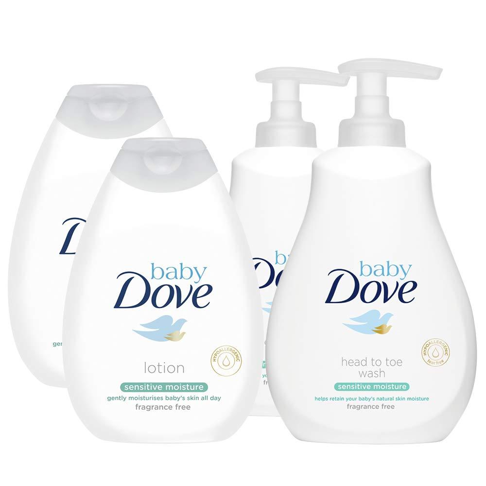 2 Packs of Baby Dove Bathtime Fragrance-Free Essentials Including Baby Dove Sensitive Moisture Body Wash & Baby Dove Sensitive Moisture Lotion - 400ml (4 Bottles) Unilever
