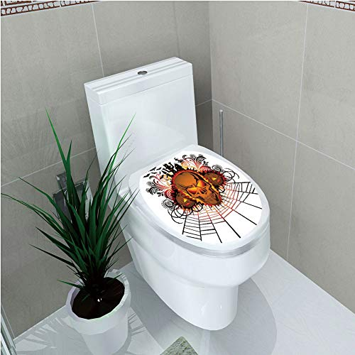 Toilet Custom Sticker,Halloween Decorations,Angry Skull Face on Bonfire Spirits of Other World Concept Bats Spider Web,Multi,Diversified Design,W12.6