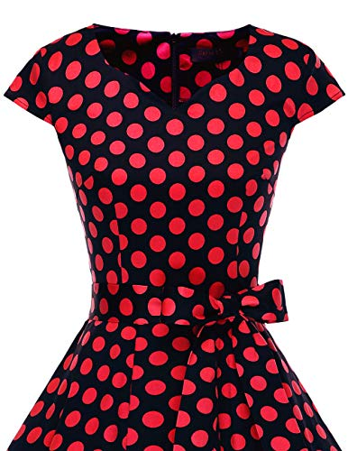 de Red 1950's 6 Dresstells Rtro Annes Style Black Cocktail Manches 0 Dot Courtes 50 Version Soire Robe Vintage 1AawHYwq