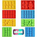Silicone Candy Molds Chocolate Tray - Ice Cube Molds Building Blocks and Robots for Lego Lovers, Cake Decorating, Making Candy, Crayon, Set of 8 with Recipe E-book