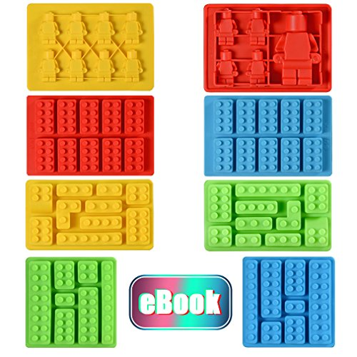 Silicone Candy Molds Chocolate Tray - Ice Cube Molds Building Blocks and Robots for Lego Lovers, Cake Decorating, Making Candy, Crayon, Set of 8 (Candy Ice Mold)