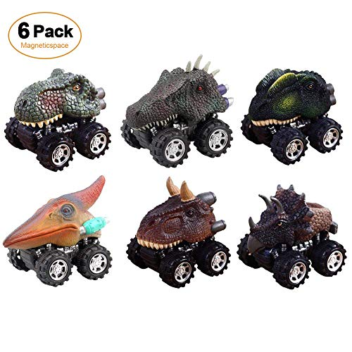 Magneticspace 6 PACK Dinosaur Cars, Pull Back Cars Dinosaur Toys Big Tire Wheel 3-14 Year Old Boys Girls Novelty Gifts Kids by Magneticspace
