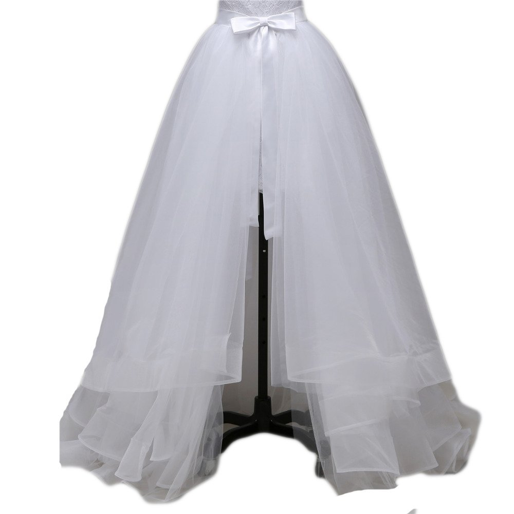 Simlehouse 5 Layers Detachable Train for Wedding Party Dress Tulle Overskirts Plus Size-White