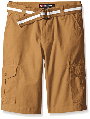 Southpole Boys' Belted Ripstop Basic Cargo Shorts, Wheat, 14 (Striped Shorts Brown)