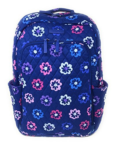 Vera Bradley Laptop Backpack (Updated Version) with Solid Color Interiors (Ellie Flowers with Purple Interiors) by Vera Bradley