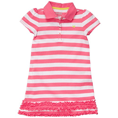 OshKosh B'Gosh Baby-Girls' 2 Pc Cotton Polo Short Sleeve Dress Set with Ruffles (18 Months, Pink Stripe)