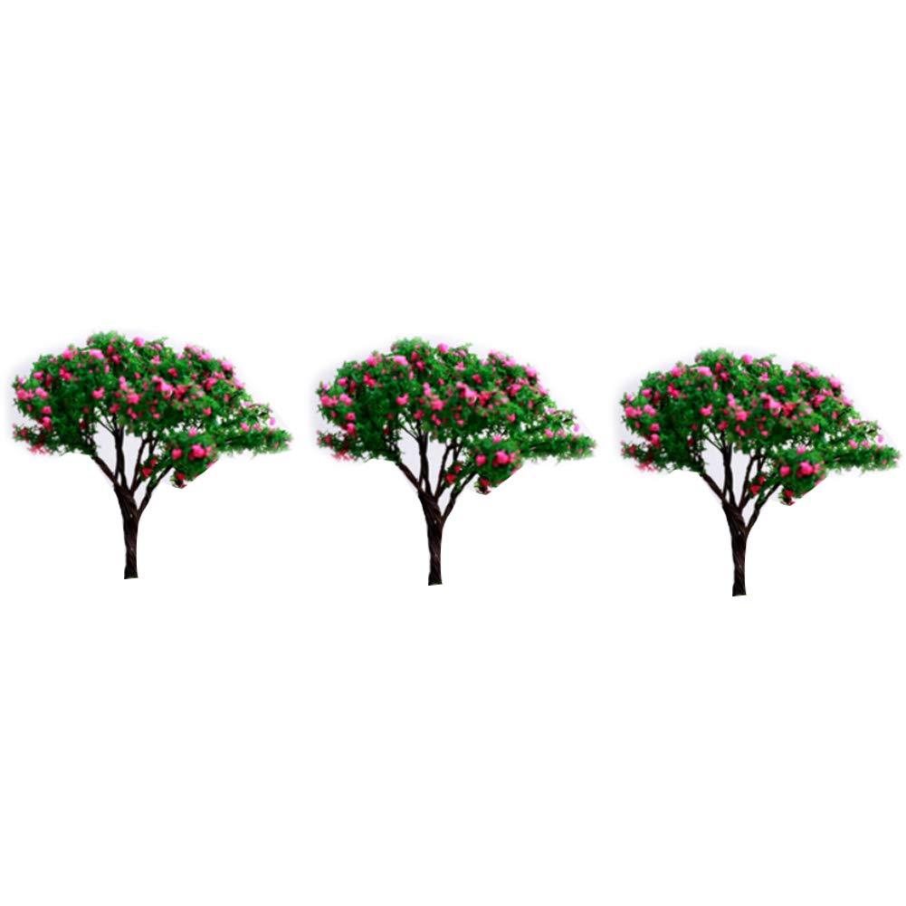 Runfon Model Trees Mini Scenery Landscape Architecture Trees Miniature Fairy Garden Tree Plant DIY Craft Garden Ornament Simulation Tree 3Pcs(Gypsophila)