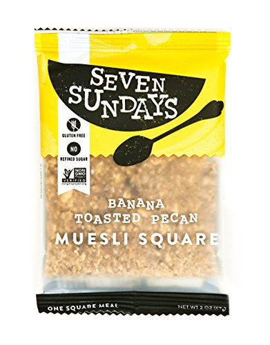 Seven Sundays Gluten Free Muesli Square - Banana Toasted Pecan Bar {10 Count} - Non-GMO Certified, Individually Packaged Muesli To-Go Breakfast ()