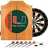 Trademark Gameroom University of Miami Wood Dart Cabinet Set - Text