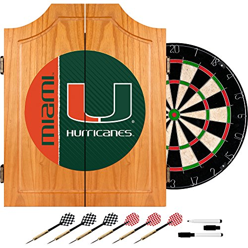 Trademark Gameroom University of Miami Wood Dart Cabinet Set - Text by Trademark Gameroom