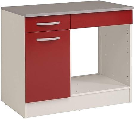 PEGANE - Mueble bajo de Cocina para Horno, Color Rojo y Blanco ...