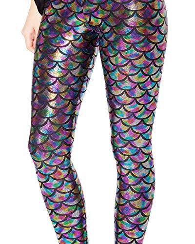 Alaroo Women Bling Mermaid Print Scale Leggings Pants Rainbow Plus 4XL]()