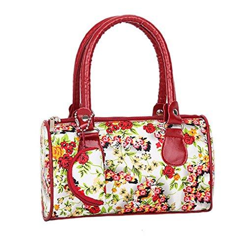 QUICKLYLY Bolsos Mano De Mujer Fiesta Cuero de PU Estampado de Flores Bolsa de Hombro Bandolera Casual Rojo