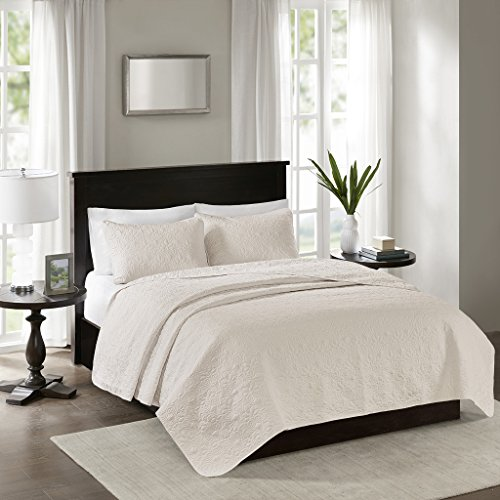 - Madison Park Quebec Full/Queen Size Quilt Bedding Set - Ivory, Damask – 3 Piece Bedding Quilt Coverlets – Ultra Soft Microfiber Bed Quilts Quilted Coverlet