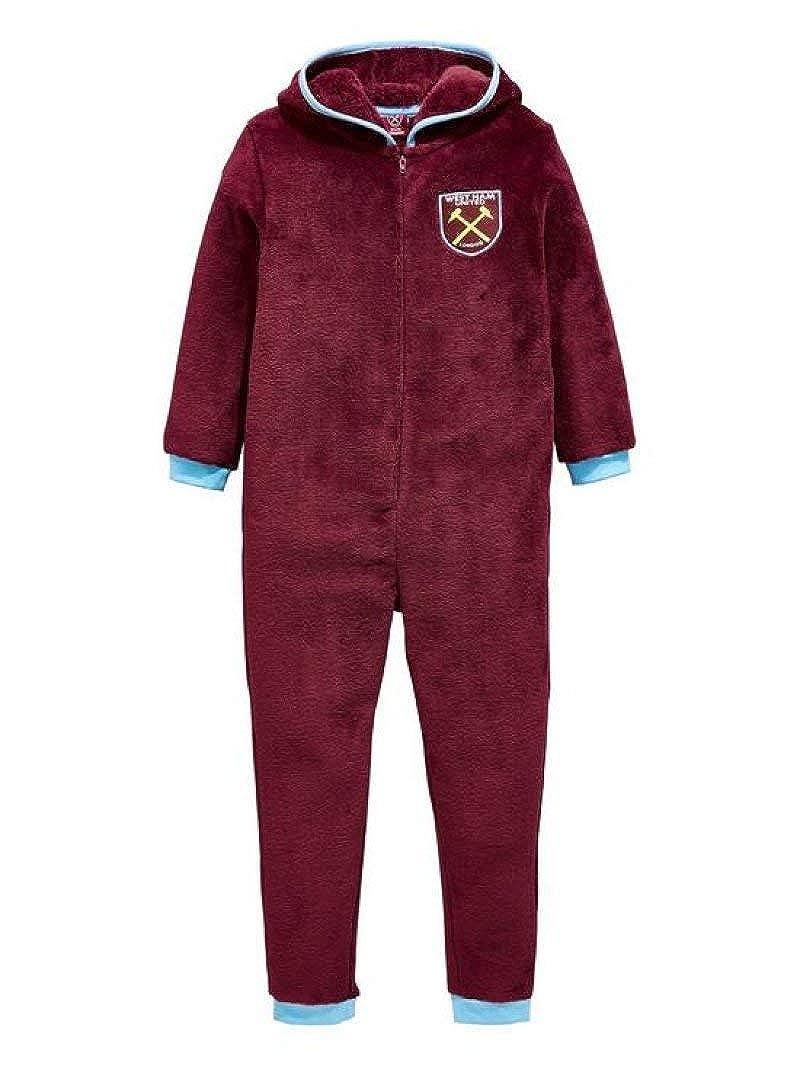 Boys West Ham Hooded Fleece Zipper Sleepsuit Hammers 3 to 12 Years Boli & Berg