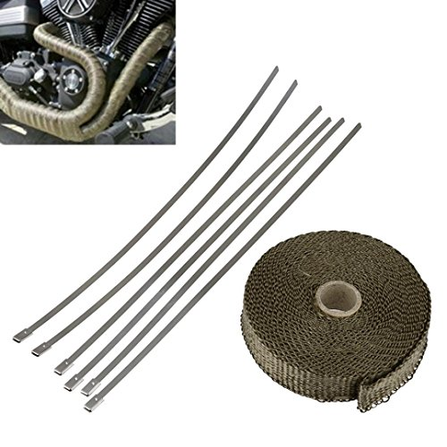 Dreamyth 7.5m Titanium Exhaust Heat Wrap Roll Cable Pipe With 6 Stainless Ties Kit Practical