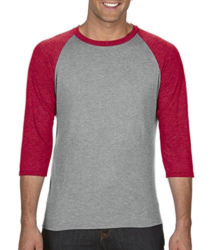 Anvil Slim T-shirt - Anvil A6755 Adult Tri-Blend Raglan T-Shirt - HeatherGry/Hthr Red - L