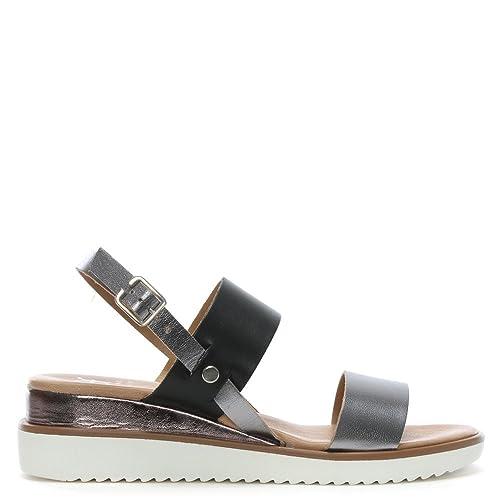 7367db90a8d1 DF By Daniel Slant Grey Leather Sling Back Sandals  Amazon.co.uk ...