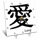 3dRose LLC Chinese Symbol Love 6 by 6-Inch Desk Clock
