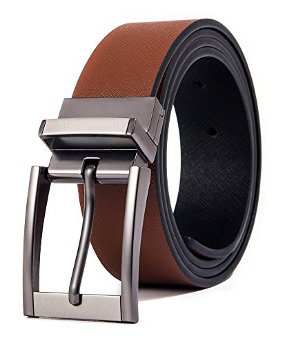 Cyparissus Men Genuine Leather Belt Reversible Belt for Jeans with Rotated Prong Buckle Gift Box