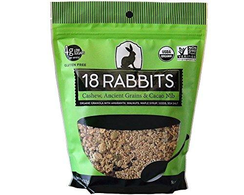 18 Rabbits Organic Gluten Free Granola Cereal, Cashew, Amaranth & Cacao Nib, 6 Count
