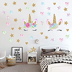 Unicorn Wall Decals,Unicorn Wall Sticker Decor with Heart Flower Birthday Christmas Gifts for Boys Girls Kids Bedroom Decor Nursery Room Home Decor (2 Pack Unicorn)