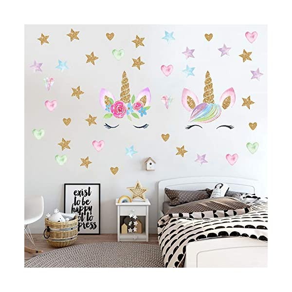 Unicorn Wall Decals,Unicorn Wall Sticker Decor with Heart Flower Birthday Christmas Gifts for Boys Girls Kids Bedroom Decor Nursery Room Home Decor (2 Pack Unicorn) 4