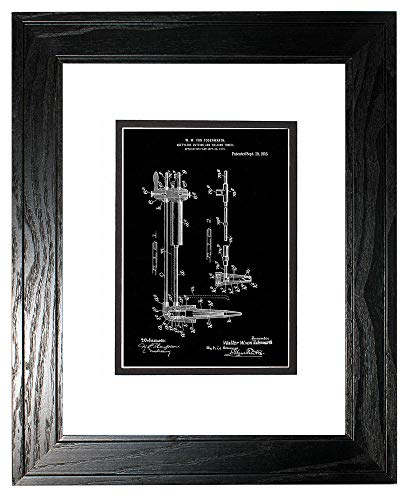 - Acetylene Cutting and Welding Torch Patent Art Black Matte Print in a Black Pine Wood Frame with a Double Mat (20