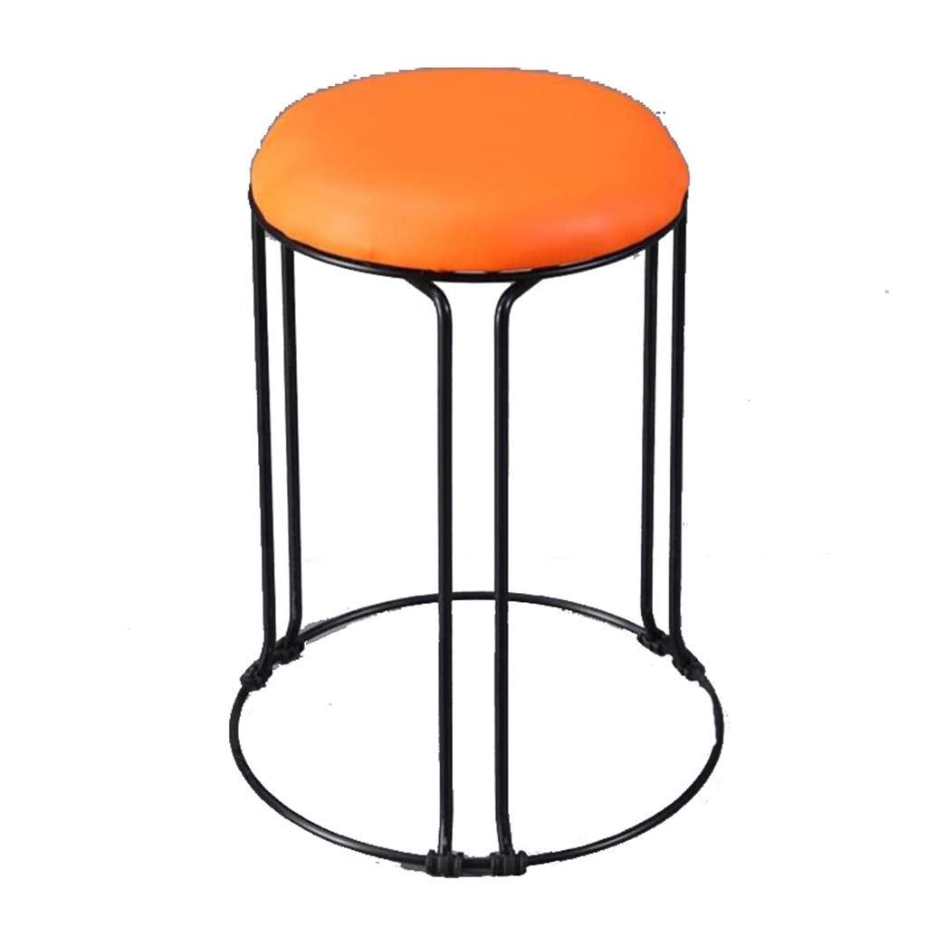orange Dining Stool, Household Kitchen High Stool Iron Art PU Breathable Bench Small Seat School Chair Height 45CM (color   bluee)