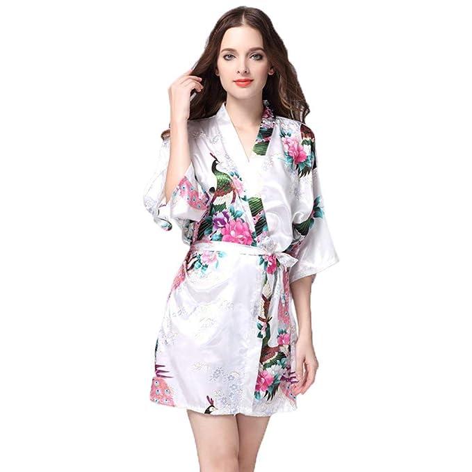 Bata para Mujer Kimono Corta Satén Calentamiento Especial Estilo Sche Noche Albornoz Bata Pijamas con Pavo Real Y Flores: Amazon.es: Ropa y accesorios