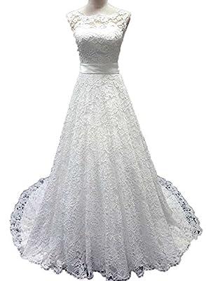 Snowskite Women's Elegant High Neck Lace Wedding Bridal Dress