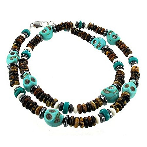 Mens Turquoise Magnesite Skull & Heishi, Hematite (Hemalyke), Bone Beaded Necklace - 20