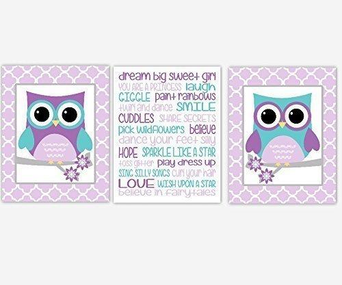 Girl Nursery Wall Art Owls Purple Lavender Teal Aqua Dream Big Branch With Flowers Quotes Baby Nursery Decor SET OF 3 UNFRAMED PRINTS