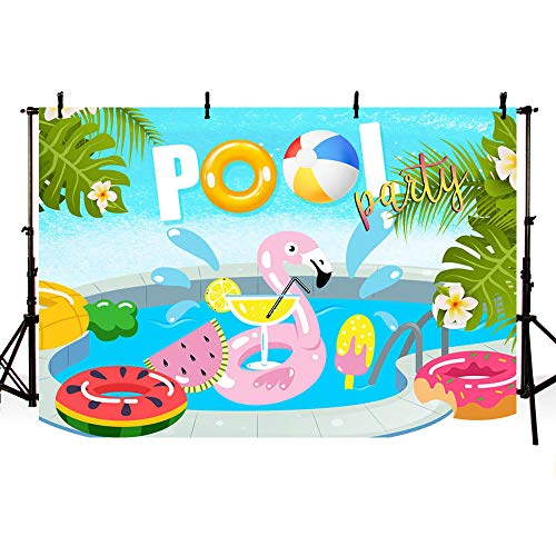 MEHOFOTO Summer Pool Party Backdrop Flamingo Ice Cream Donut Swimming Ring Splash Aloha Floral Hawaiian Birthday Decorations Background Photography Photo Booth Banner 7x5ft